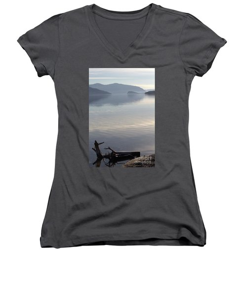 Women's V-Neck T-Shirt (Junior Cut) featuring the photograph Laying Still by Victor K