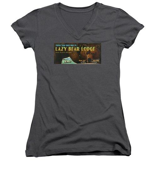 Lazy Bear Lodge Sign Women's V-Neck T-Shirt (Junior Cut) by Wayne McGloughlin
