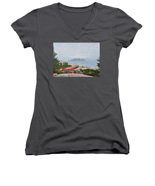 Le Hayes Island Women's V-Neck T-Shirt (Junior Cut) by Kenneth M Kirsch