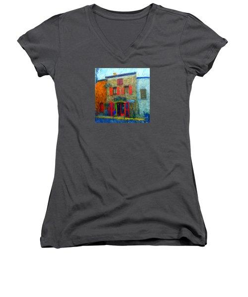 Le Lezard Restaurant Women's V-Neck T-Shirt (Junior Cut)