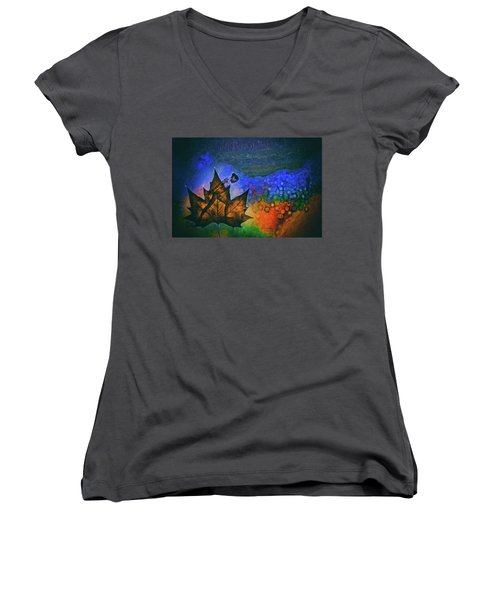 Women's V-Neck T-Shirt (Junior Cut) featuring the photograph Leaf Dancer by James Bethanis