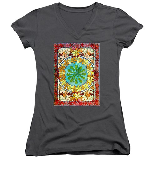 Leaf Motif 1901 Women's V-Neck T-Shirt (Junior Cut) by Padre Art