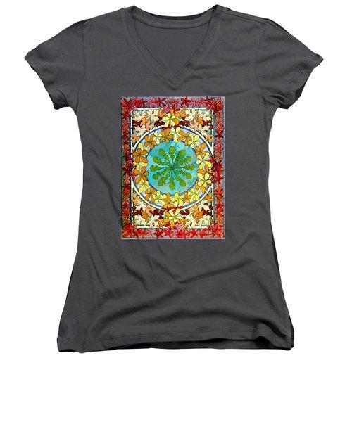 Leaf Motif 1901 Women's V-Neck T-Shirt