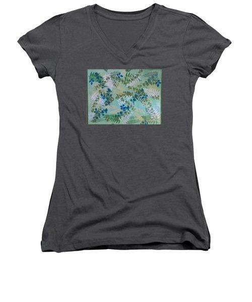 Leafy Floor Cloth - Sold Women's V-Neck T-Shirt (Junior Cut) by Judith Espinoza