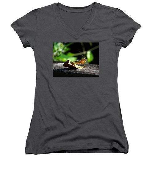Leafy Praying Mantis Women's V-Neck (Athletic Fit)