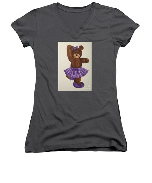 Women's V-Neck T-Shirt (Junior Cut) featuring the painting Leah's Ballerina Bear 2 by Tamir Barkan