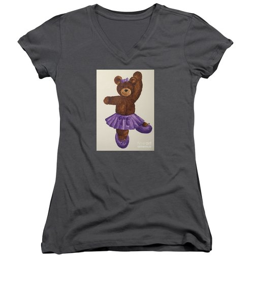 Women's V-Neck T-Shirt (Junior Cut) featuring the painting Leah's Ballerina Bear 5 by Tamir Barkan