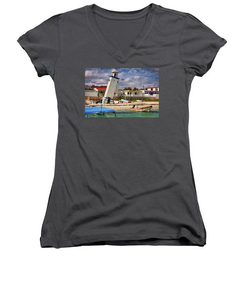 Leaning Lighthouse Women's V-Neck (Athletic Fit)