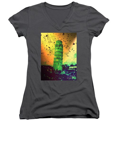 Leaning Tower Of Pisa 32 Women's V-Neck T-Shirt