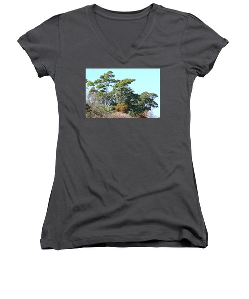 Leaning Trees On Hillside Women's V-Neck