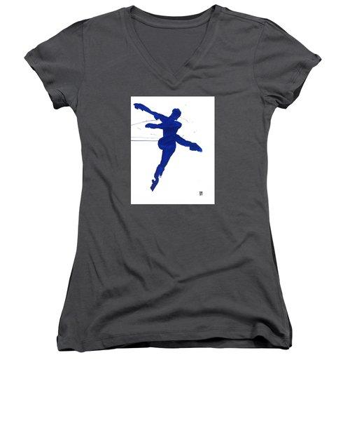 Leap Brush Blue 1 Women's V-Neck T-Shirt (Junior Cut) by Shungaboy X