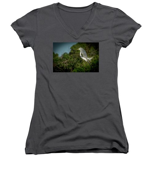 Women's V-Neck T-Shirt (Junior Cut) featuring the photograph Leap Of Faith by Marvin Spates