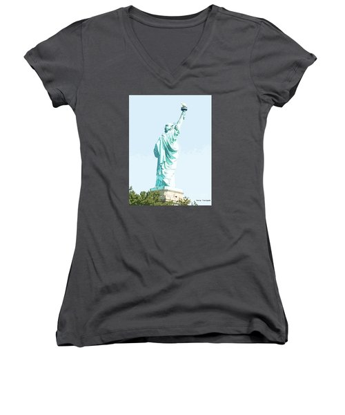 Leap Of Liberty Women's V-Neck T-Shirt (Junior Cut) by Denise Tomasura