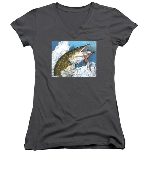 leaping Pike Women's V-Neck