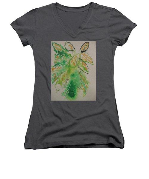 Leaves Women's V-Neck T-Shirt (Junior Cut) by AJ Brown