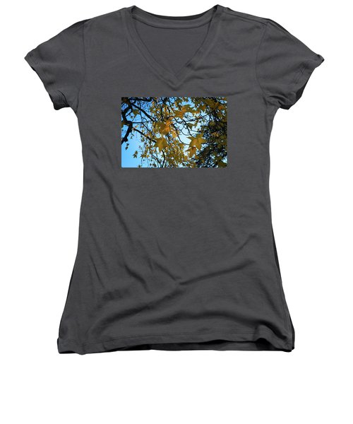 Women's V-Neck T-Shirt (Junior Cut) featuring the photograph Leaves by Cendrine Marrouat