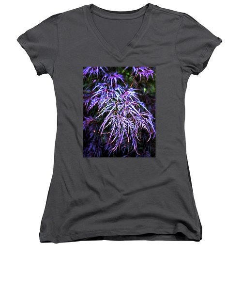 Leaves In The Light Women's V-Neck T-Shirt (Junior Cut) by Robert FERD Frank