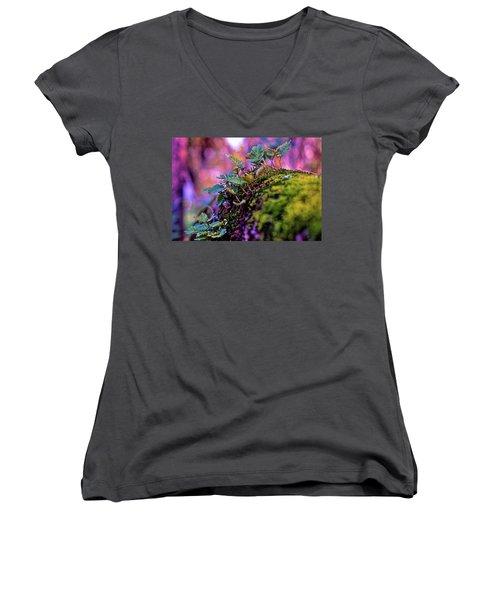 Leaves On A Log Women's V-Neck T-Shirt