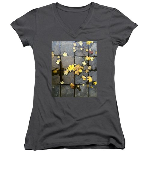 Leaves On Slate Women's V-Neck