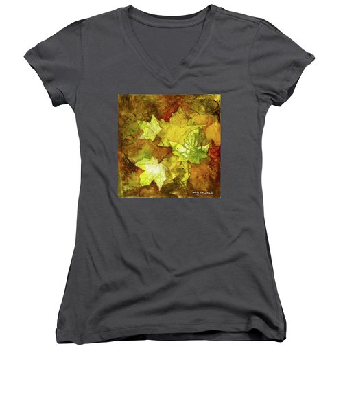 Leaves Women's V-Neck T-Shirt (Junior Cut) by Terry Honstead
