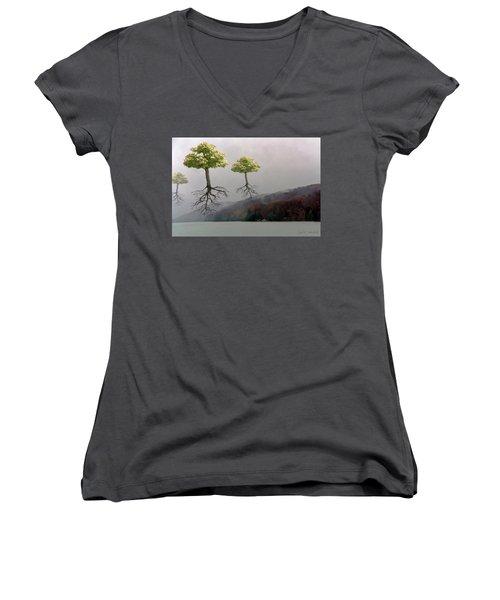 Leaving Home Women's V-Neck T-Shirt (Junior Cut)