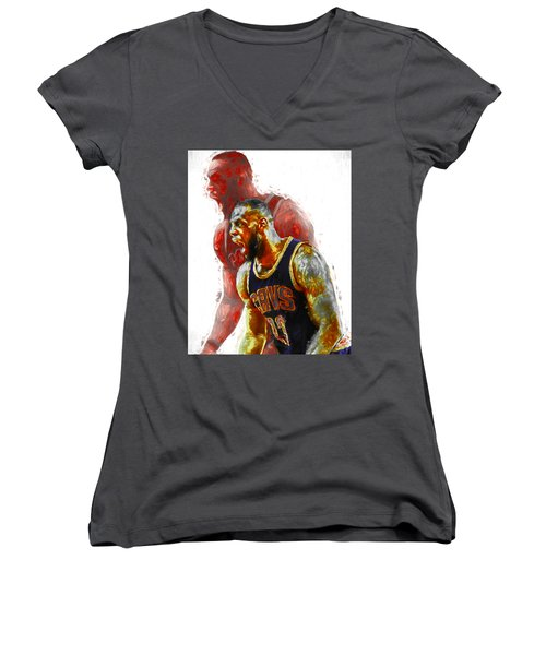 Lebron James 23 1 Cleveland Cavs Digital Painting Women's V-Neck T-Shirt (Junior Cut) by David Haskett