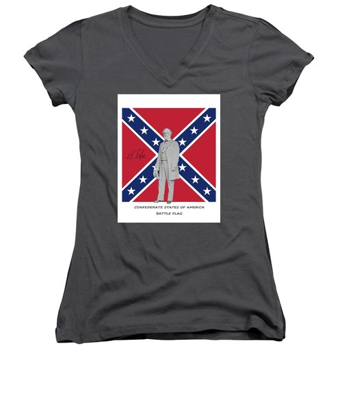 Lee Battleflag Women's V-Neck