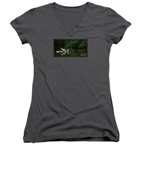 Left Behind Women's V-Neck T-Shirt (Junior Cut) by Pamela Blizzard