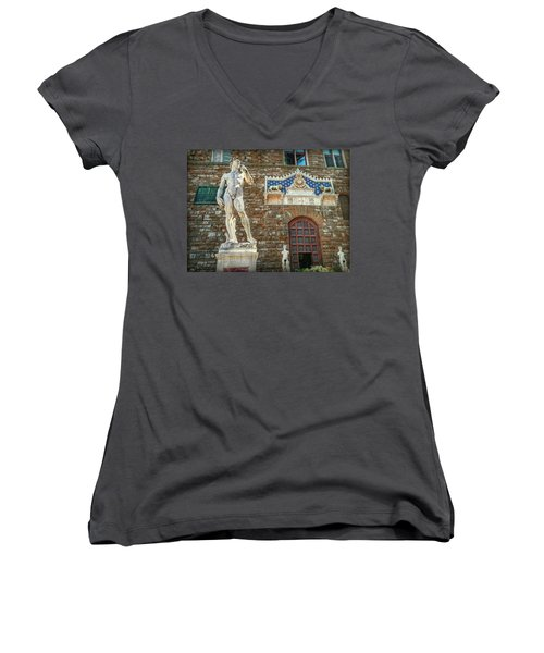 Women's V-Neck T-Shirt featuring the photograph Legal Nudity by Hanny Heim
