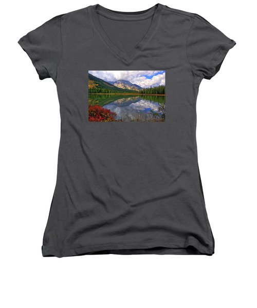 Leigh Lake Morning Reflections Women's V-Neck
