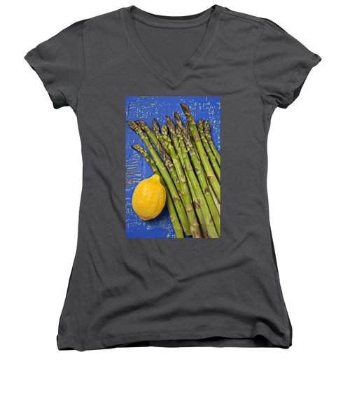Lemon And Asparagus  Women's V-Neck T-Shirt (Junior Cut) by Garry Gay