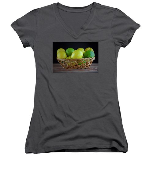 Lemon And Lime Basket Women's V-Neck T-Shirt (Junior Cut) by Ray Shrewsberry