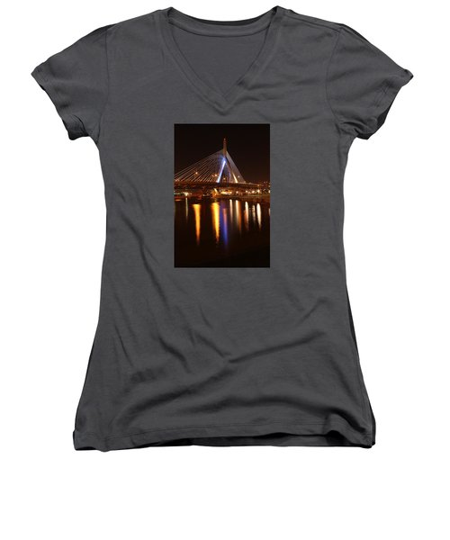 Leonard P. Zakim Bunker Hill Bridge Reflection 2 Women's V-Neck (Athletic Fit)