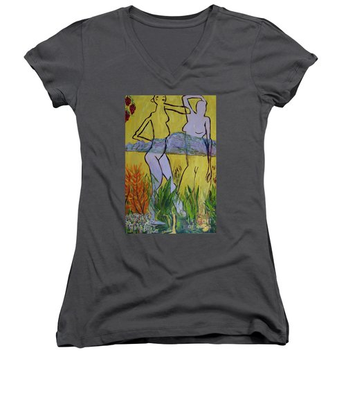 Women's V-Neck T-Shirt (Junior Cut) featuring the painting Les Nymphs D'aureille by Paul McKey