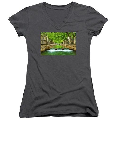 Les Quais De La Fontaine Nimes Women's V-Neck T-Shirt (Junior Cut) by Scott Carruthers