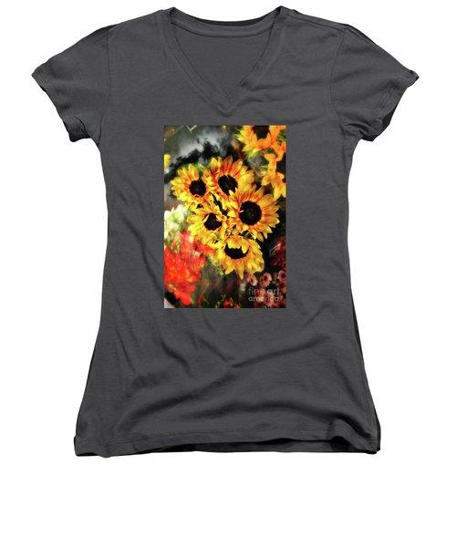 Les Tournesols Women's V-Neck T-Shirt (Junior Cut) by Jack Torcello