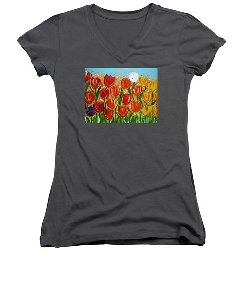 Women's V-Neck T-Shirt (Junior Cut) featuring the painting Les Tulipes - The Tulips by Gioia Albano