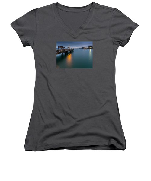 Less Davis Pier Commencement Bay Women's V-Neck T-Shirt (Junior Cut) by Rob Green