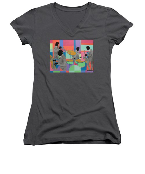 Let The Band Play Women's V-Neck T-Shirt (Junior Cut) by Angelo Thomas