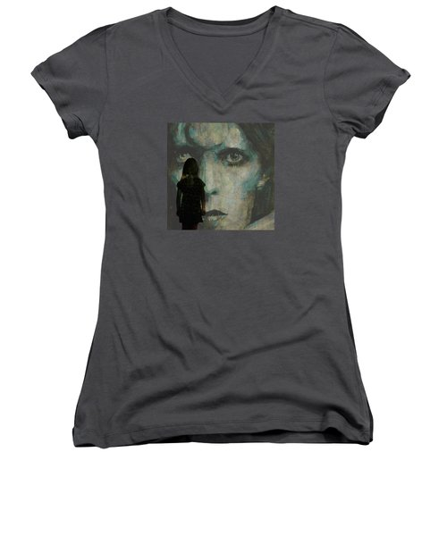 Women's V-Neck T-Shirt (Junior Cut) featuring the painting Let The Children Lose It Let The Children Use It Let All The Children Boogie by Paul Lovering