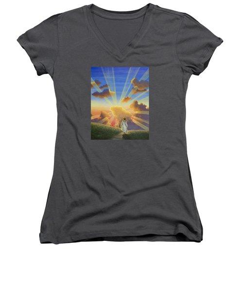 Let The Day Begin Women's V-Neck T-Shirt