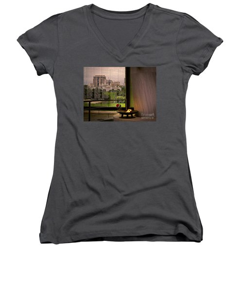 Women's V-Neck T-Shirt (Junior Cut) featuring the photograph Let The Flame Never Die by Melissa Messick