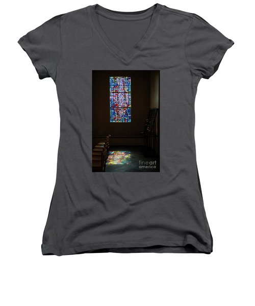 Women's V-Neck T-Shirt (Junior Cut) featuring the photograph Let There Be Coloured Light... by Nina Stavlund