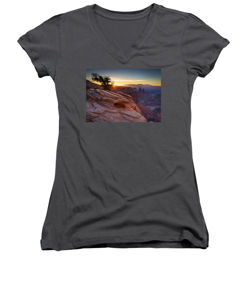 Women's V-Neck T-Shirt (Junior Cut) featuring the photograph Let There Be Light by Dan Mihai
