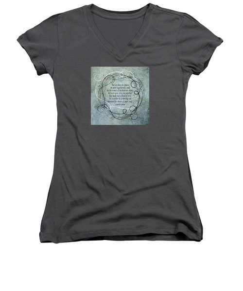 Women's V-Neck T-Shirt (Junior Cut) featuring the digital art Let There Be Spaces by Angelina Vick