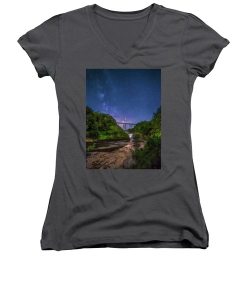 Women's V-Neck T-Shirt (Junior Cut) featuring the photograph Letchworth At Night by Mark Papke