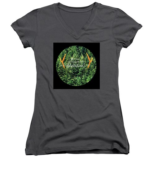 Women's V-Neck T-Shirt (Junior Cut) featuring the photograph Let's Go On An Adventure by Robin Dickinson
