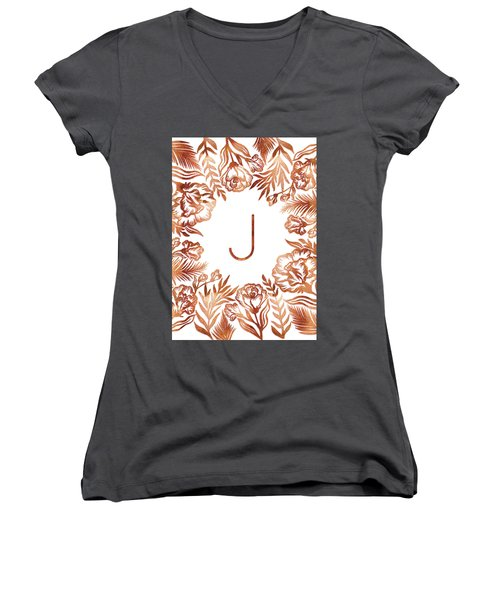 Letter J - Rose Gold Glitter Flowers Women's V-Neck