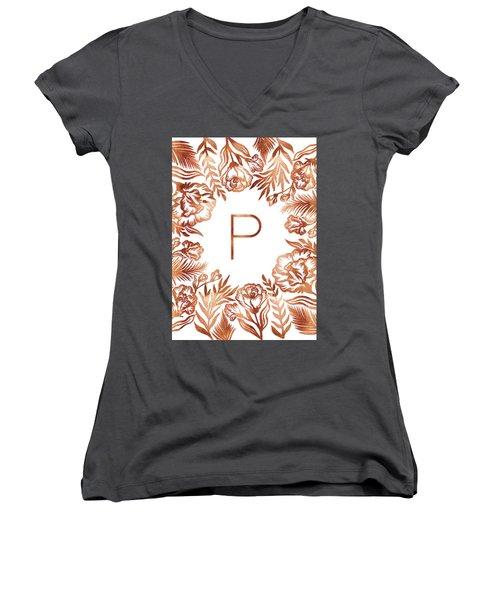Letter P - Rose Gold Glitter Flowers Women's V-Neck (Athletic Fit)
