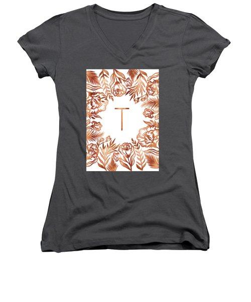 Letter T - Rose Gold Glitter Flowers Women's V-Neck (Athletic Fit)